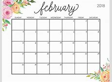 February 2018 Calendar Printable February 2018 Floral