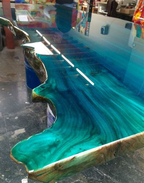 image result     resin art  glass wood table