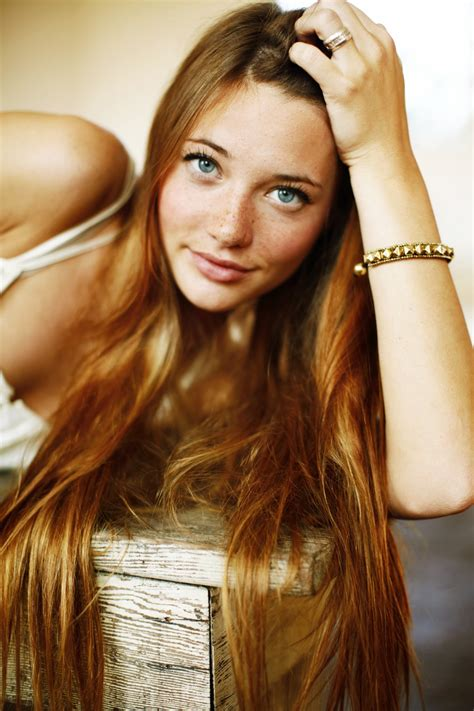 lindsay hansen women redhead blue eyes long hair