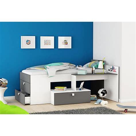 lit avec bureau intégré lit enfant avec bureau intégré en bois coloris blanc perle