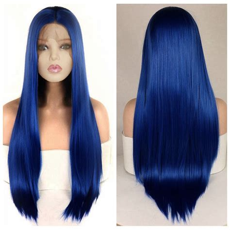 Dlme Straight Synthetic Lace Front Wigs Blue Color Heat