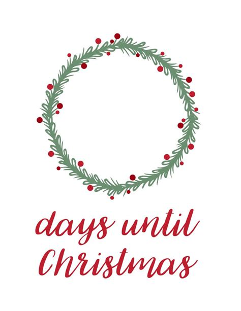 days till christmas template printable dry erase christmas countdown