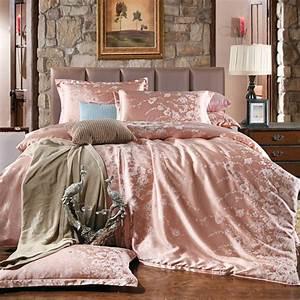 Housse De Couette Rose Gold : classic satin jacquard pink bedding set rose bed linen duvet cover king queen size bedding sets ~ Teatrodelosmanantiales.com Idées de Décoration