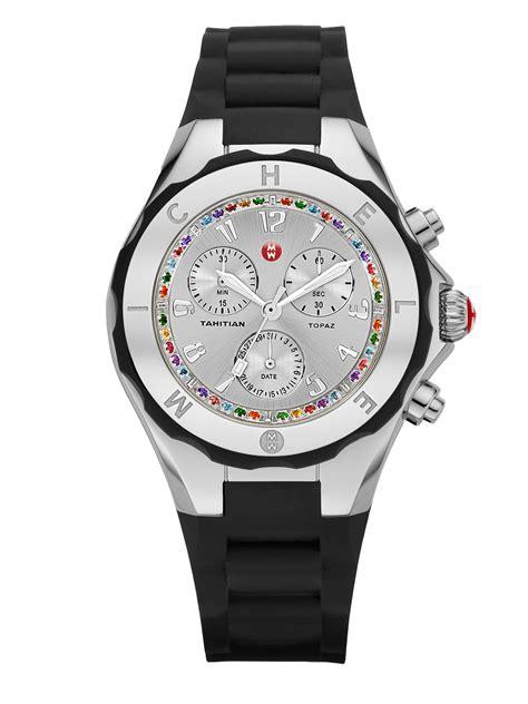 michele tahitian jelly bean topaz silicone chronograph watchblack  black lyst
