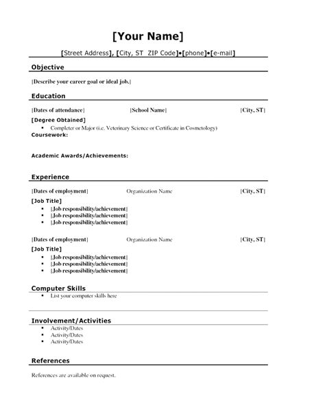 basic high school sle resume resume template basic