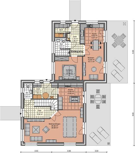 haus mit einliegerwohnung bauen flachdachhaus grundriss