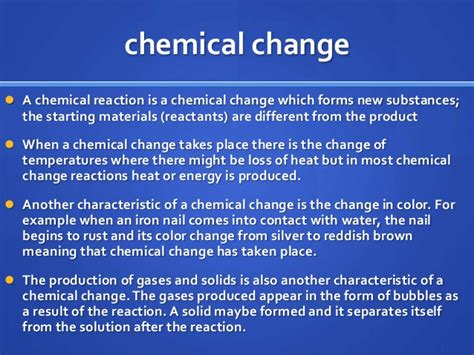 chemical change physical chemistry reaction example changes which mass