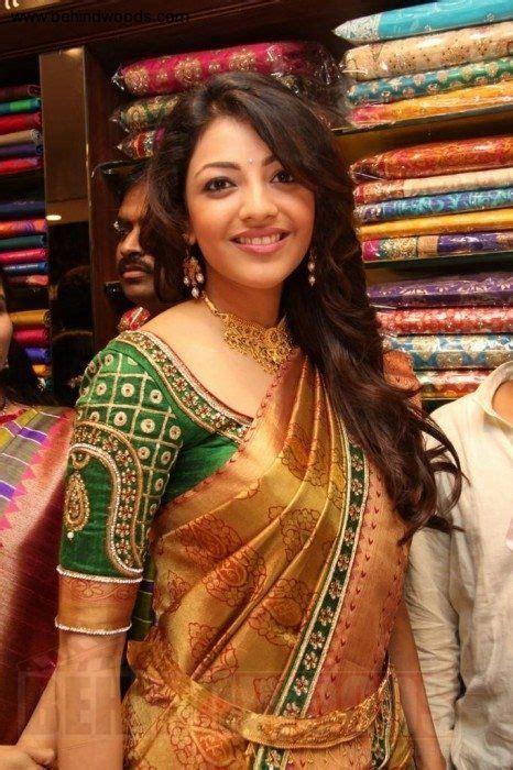 kajal aggarwal  blouse design silk saree blouse