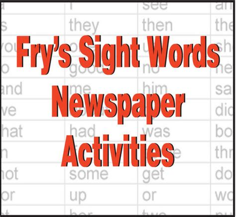 sight word activities   newspaper nie rocks