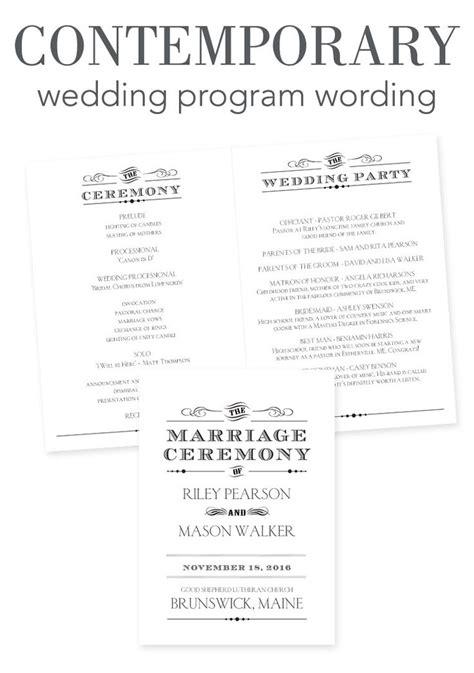 wedding program sle wording ideas how to word your wedding programs contemporary wording wedding help tips