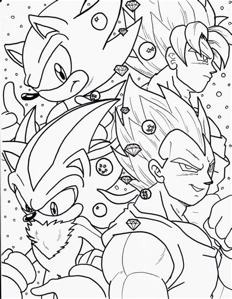 Goku Vs Sonic Free Colouring Pages