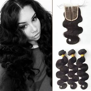 Malaysian Body Wave 3 Bundles with Closure 7A Grad Human ...