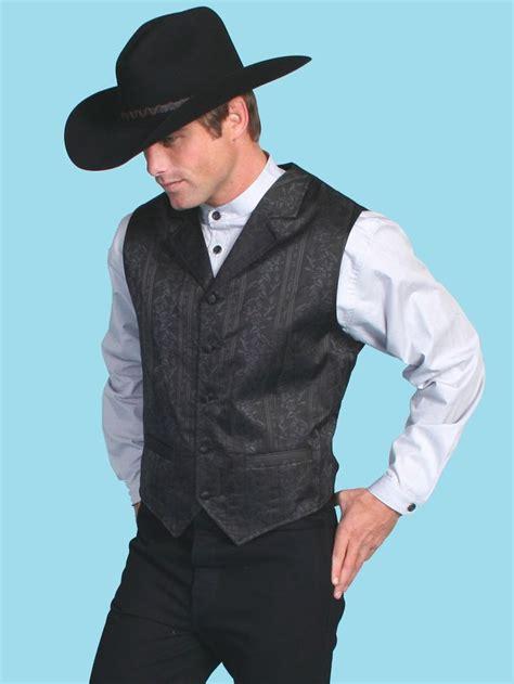 scully mens black satin print notch formal western vest