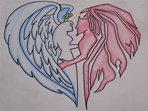 Lovers Angel And Demon Drawing - Crochetamommy © 2018 ...