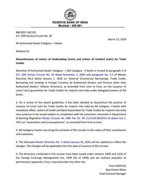 rbi bans  indian banks  issuing lous locs techtends