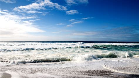 White Waves Hitting The Shore 1920x1080 Hd Wallpaper Sunny
