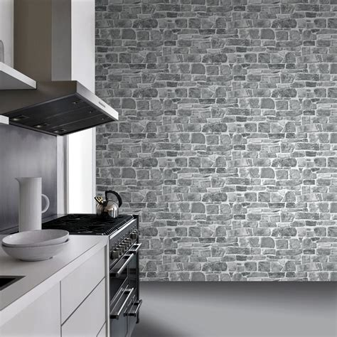 Papier Peint Brique Grise Chicago by Grey Brick Effect Wallpaper Suitable For Any Room Ebay