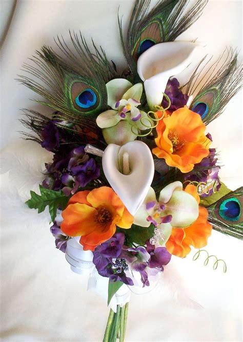 Peacock Wedding Bridal Bouquet Orange Poppies Orchids