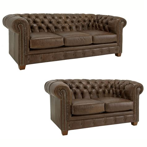 Leather Chesterfield Loveseat by Hancock Tufted Distressed Brown Italian Chesterfield