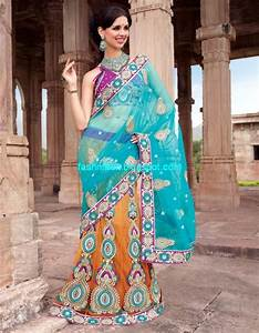 Saree Designs-Lehanga-Choli Style Embroidered Bridal Party ...
