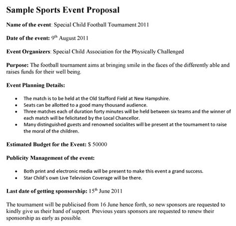 generally  sports event proposal  prepared   event