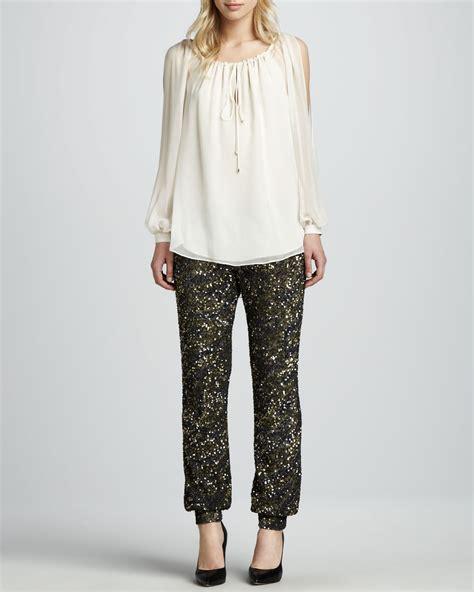 haute hippie blouse haute hippie womens slit sleeve silk blouse in beige lyst