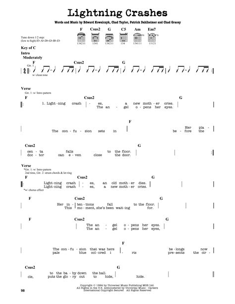 crashes lyrics lightning crashes sheet by live guitar lead sheet Lighting