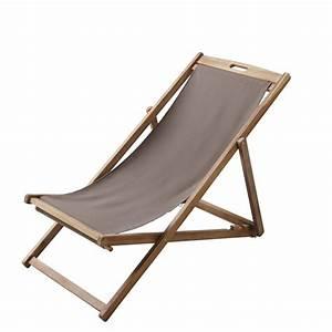 Chaise Longue Pliante : chaise longue chilienne pliante taupe en acacia massif ~ Melissatoandfro.com Idées de Décoration
