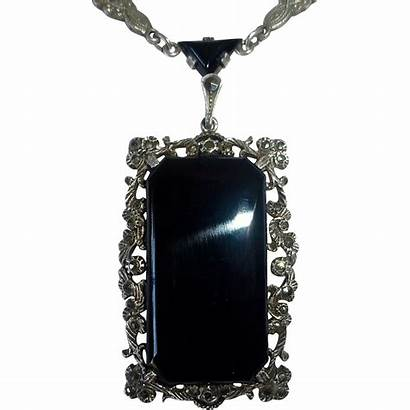 Deco Marcasite Germany Sterling Necklace Pendant Onyx
