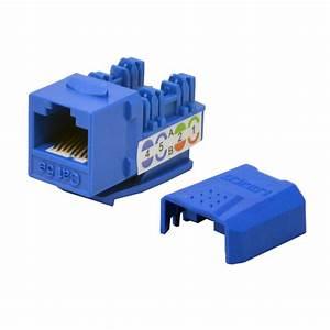 50 Pack Lot Keystone Jack Cat5e Blue Network Ethernet 110