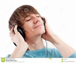 Young Man With Headphones Listening To Music Stock Images ...
