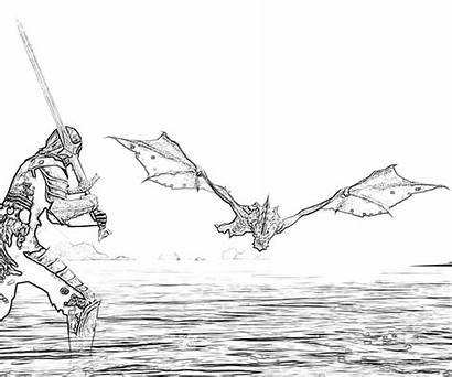 Skyrim Dragon Elder Scrolls Slayer Coloring Pages