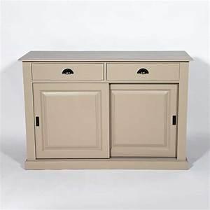 Meuble Buffet Bas : buffet bois taupe 2 portes coulissantes 2 tiroirs made in meubles ~ Teatrodelosmanantiales.com Idées de Décoration