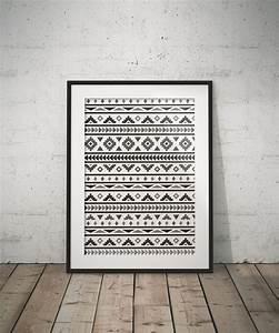 Deco Murale Ethnique : 1 affiche tendance ethnique graphisme boho en noir et blanc d corations murales par impressive ~ Teatrodelosmanantiales.com Idées de Décoration