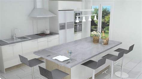 cuisine blanche avec ilot central modele de cuisine americaine avec ilot central 3