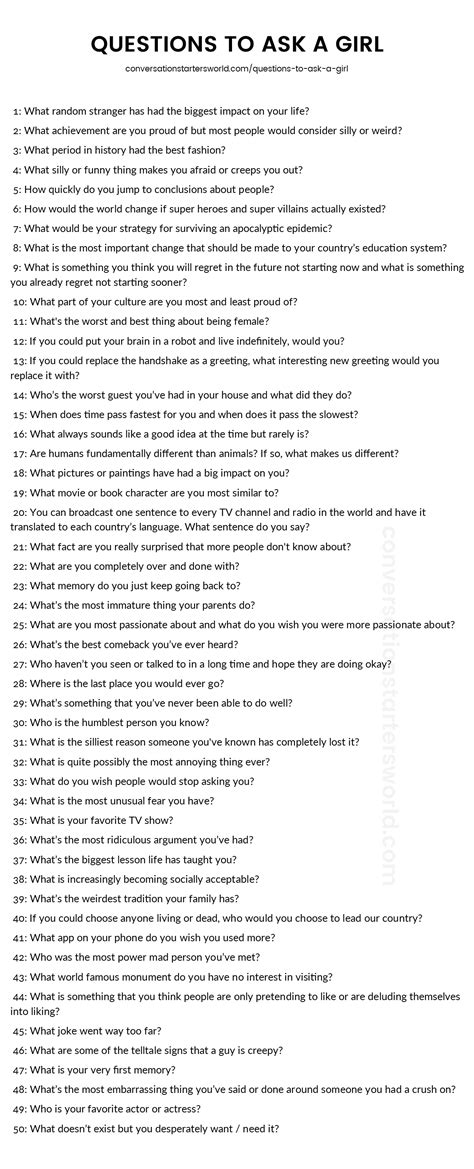 200 Questions To Ask A Girl  The Only List You'll Need