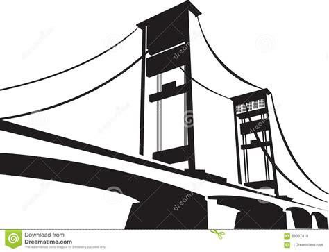 ampera bridge palembang sumatera selatan stock vector