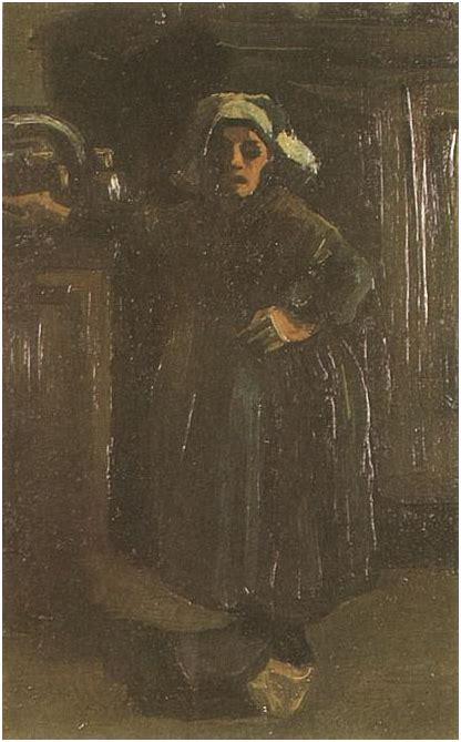 peasant woman standing indoors  vincent van gogh