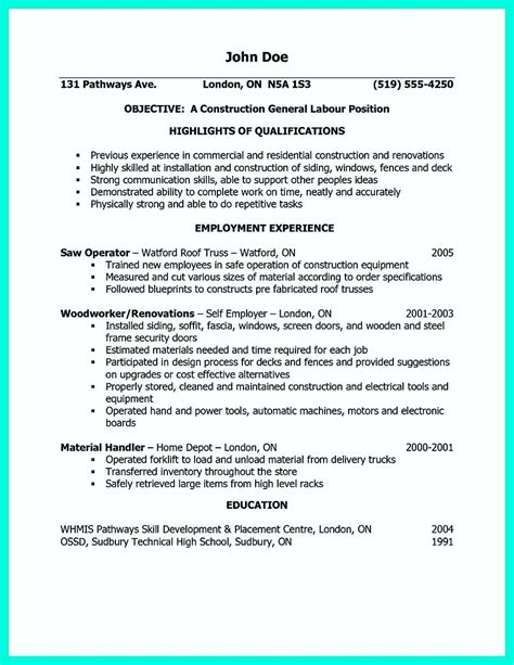 Resume For Construction by Awesome Construction Worker Resume Exle To Get You