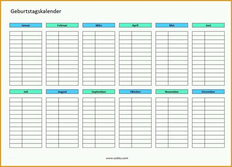 … zum kostenlosen herunterladen und ausdrucken. Hervorragend Geburtstagskalender Zum Ausdrucken Pdf Excel | Kostenlos Vorlagen und Muster.