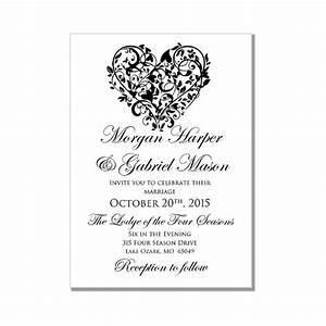 printable wedding invitation quotheartquot diy wedding With wedding invitation card format in ms word