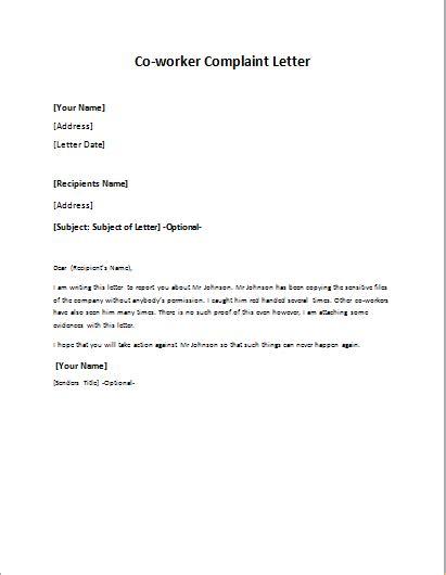 write  formal complaint letter   coworker lied