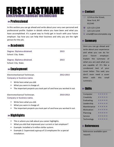 resume template ms word   cv template