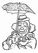 Coloring Clown Pages Pennywise Umbrella Smiling Under Sketchite Circus Template Whitesbelfast Clowns Adult Easy Credit Save sketch template