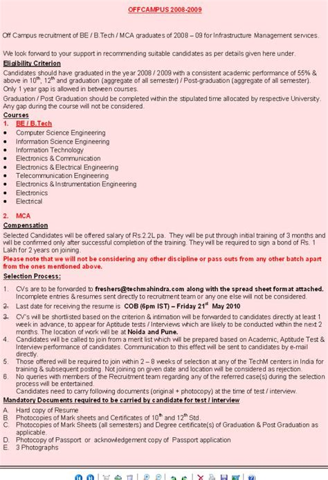 Free Resumes For Recruiters In Bangalore by It Engineering Technical In India Techmahindra Freshers Cus Recruitment For Be B