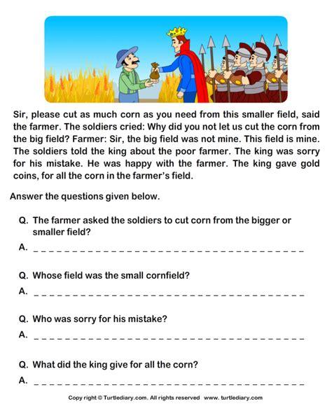 fill   blanks  comprehension king  farmer