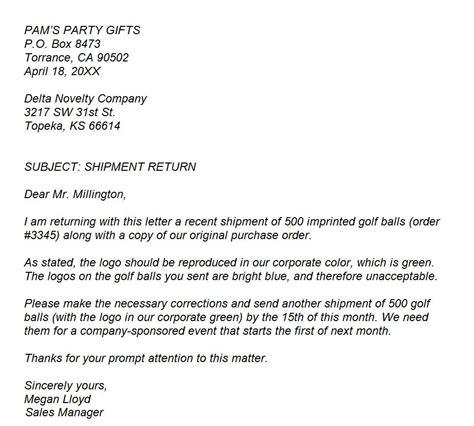 business letter  complaint