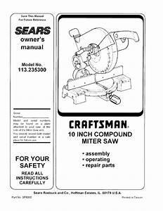 Craftsman 113235300 User Manual 10 Compound Mitre Saw