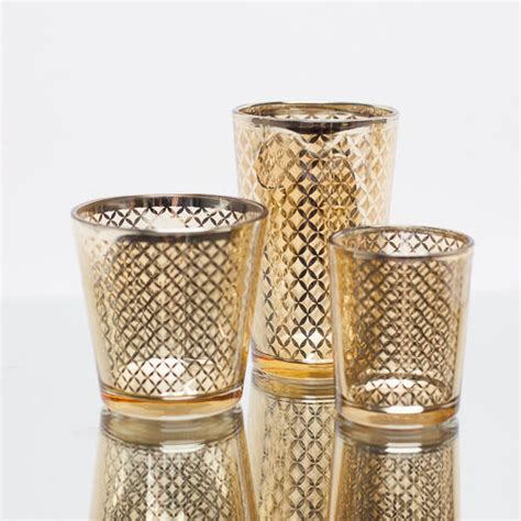 Gold Glass Candle Holders by Richland Votive Candle Holder Gold Mercury Lattice Set Of