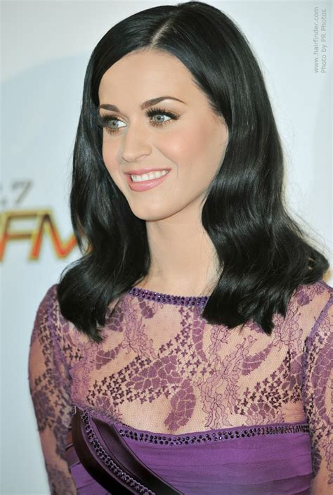 katy perry  blue black hair  touches  shoulders